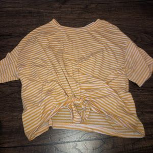 Orange and white tide cropped top